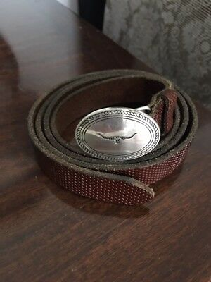 RM Williams Leather Belt with Silver Longhorn Fastener - 38 Inches