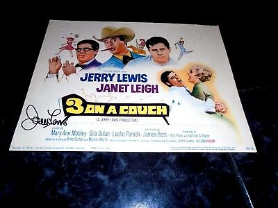 Three On A Couch, Jerry Lewis Signed Original Title Card, 1966