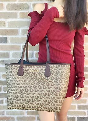 Michael Kors Candy Large Reversible Tote Brown Signature Black Pouch MK Logo