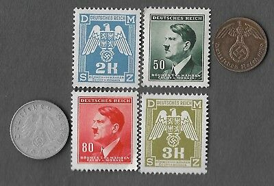 Rare Old WWII Nazi Germany SS Coin Hitler Stamp Collection WW2 War Xmas Gift Lot