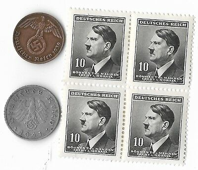 Rare Vintage WWII Nazi Germany Coin Hitler Stamp German 3rd Reich Collection Lot