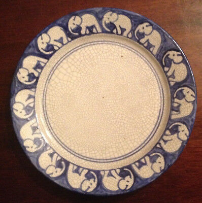 Rare Antique Early 20Th C Dedham Pottery Elephant Dinner Plate