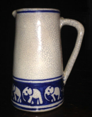 Rare Antique Early 20Th C Dedham Pottery Elephant With Baby Milk/cream Pitcher