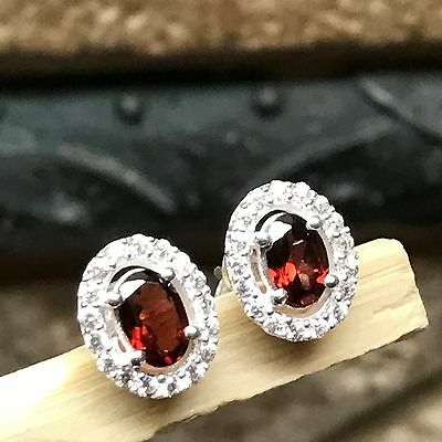 Genuine 2ct Garnet White Sapphire 925 Solid Sterling Silver Stud Earrings 10mm