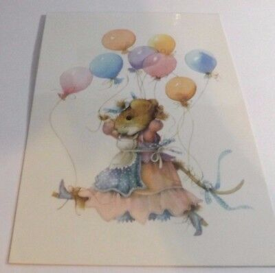 "Vera The Mouse Kickin"" it with her boots and Balloons Laminated Postcard~Dutch"