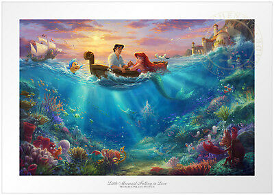 Thomas Kinkade Disney The Little Mermaid Falling in Love 24 x 36 S/N LE Paper