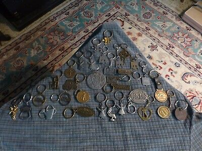 Vintage METAL Keychain Lot Of 32 Mixed Lot Of Rare Old & Unique Key Rings VG !