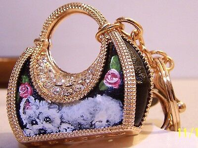 Westie Westhighlander hand painted  purse crystal key chain handbag charm gift