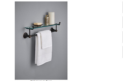 Delta Porter Glass Towel Bar Vintage Bathroom Antique Deco Wall Mount Bronze