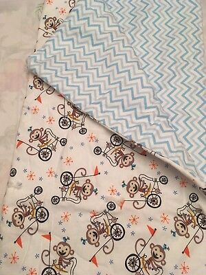 Adorable monkey Flannel Baby Quilt