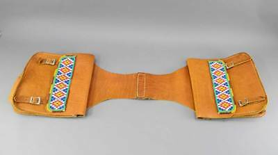 Hand Made Leather Saddle Bags W/ Bead Work No Res