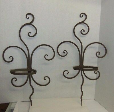 Vintage Heavy Duty Pair Of Wrought Iron Wall Plant Pot Holder Hanger Brackets