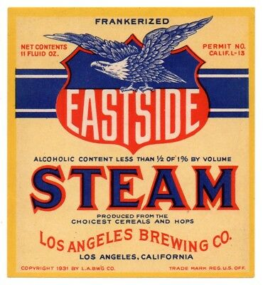 1931 Los Angeles Brewing Co California Eastside Steam L-Permit Prohibition Label