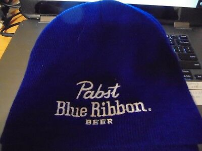 Pabst Blue Ribbon Beer Embroidered on Front Skull Cap Toboggan Nwt