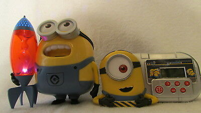Lot 2 Despicable Me Minion Sings Lullaby & Night Light Stars On Ceiling + Clock