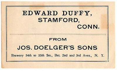 1900s JOS. DOELGLER'S SONS BREWERY, NEW YORK STAMFORD, CT BEER CASE LABEL