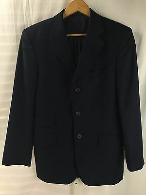 Mens Designer TM LEWIN Navy 3 button Jacket 38S Super Wool Sport Coat Blazer