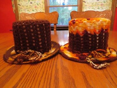 Hand Crocheted Toilet Paper Tissue Cover Hat Autumn Earth Vintage Retro Lot of 2