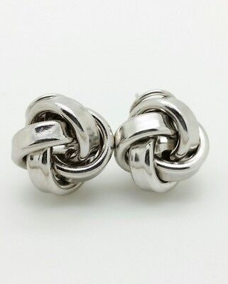 925 Sterling Silver Solid High Polish Love Knot Earrings 15mm