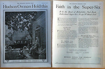 1920 two page magazine ad for Hudson - Super Six Sedan on the farm, Confidence
