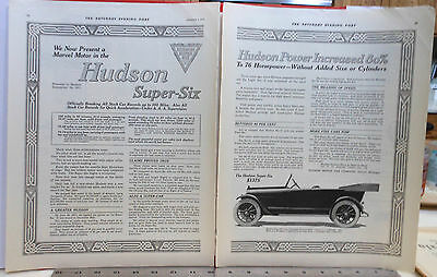 Vintage 1916 two page magazine ad for Hudson, Super Six Phaeton, Power increased