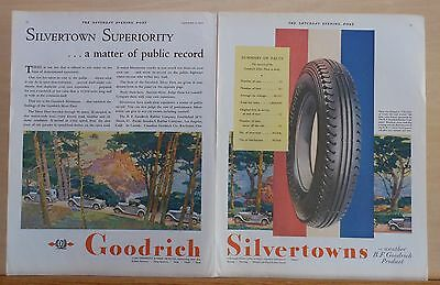 1930 two page magazine ad for Goodrich - Silvertown tire Superiority, colorful