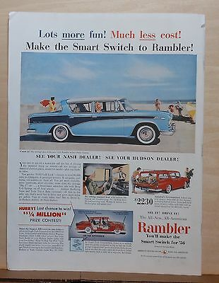 1956 magazine ad for Rambler - 4-door Custom Sedan at Beach, Lots More Fun!