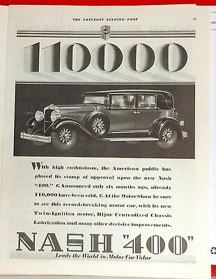 1929 magazine ad for Nash - Nash 400, 110,000 cars sold after only six months