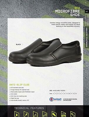 JBS Microfibre Safety Shoes Anti Static Slip Steel Toe Cap Hospitality Industry