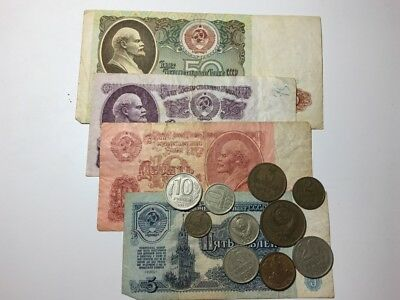 Old USSR Russian Rubles CCCP Banknotes and Coins Collection Lot #9