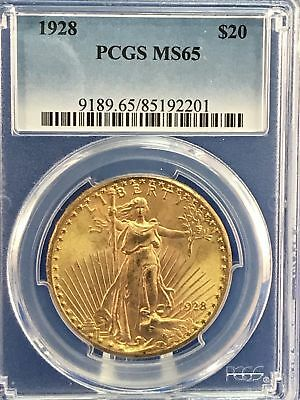 1928 $20 St. Gaudens Gold Double Eagle PCGS MS65 Rare Gem with beautiful luster!