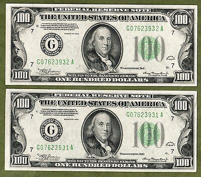 Two Consecutive 1934 $100 FRN Chicago Choice CU very nice