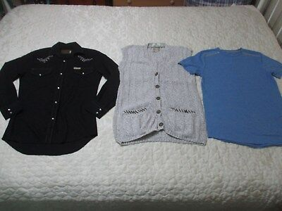 3 Items Mens Size Small, Just Jeans Vest, Blue Silver Shirt, New Breed Ls Shirt