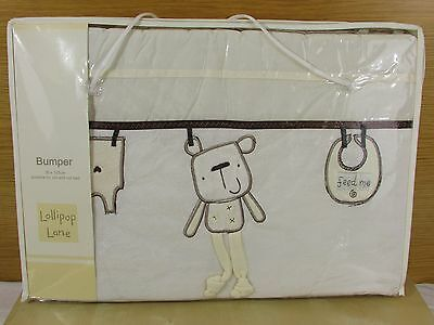 OUT TO DRY COT BUMPER 35 x 155cm - LOLLIPOP LANE- TEDDY - BABY NURSERY -NEW