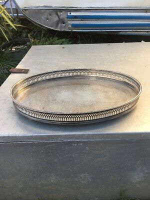 Vintage Silver Plate Oval Gallery Drinks Tray