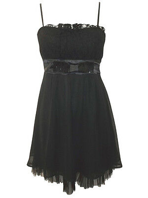 Chiffon and Lace Sequin and Satin Bow Black  Babydoll,Party Dress Size 8 NEW