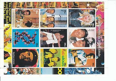 92170 / Prominente ** MNH Block Guinee Beatles Sean Connery Ali Space