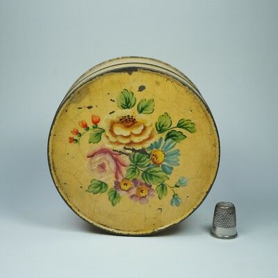 Antique 19th Century Small Hand Painted Tole Box Yellow Floral Folk Art C 1900