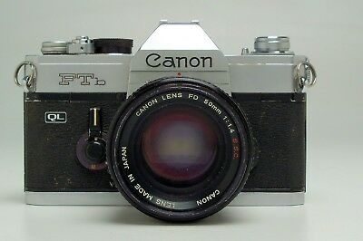Canon FTb camera with 50mm f 1.4 FD SSC lens and case
