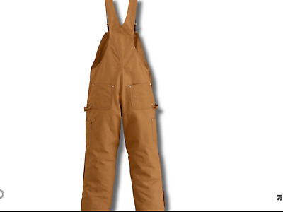 CARHARTT R38 Duck Zip to Waist BIB Overall QUILT LINED Ret $120 NWT Gold BROWN