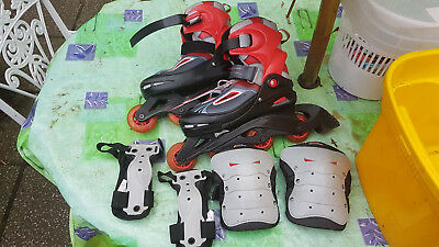Adjustable Inline Roller Blade Skates Size 5-7.5 with knee and wrist protectors