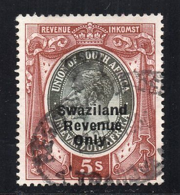 1922 Swaziland Bft:74 5/- Brown & Grey. Very Fine Used Revenue.