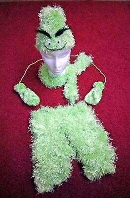 Kid Toddler 4-Piece Grinch Green Outfit: Magic Fuzzy Pants, Hat, Scarf, Mittens