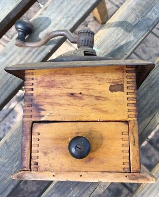 ANTIQUE WOODEN CAST IRON FLORAL TOP COFFEE GRINDER - Dove Tailed