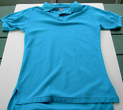 VINTAGE 1980's Men's Polo Shirt - Teal / Blue - Small - Made In USA - Miami Vice