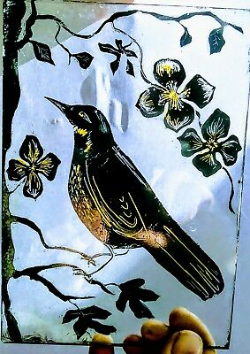 Traditional Stained Glass Bird - kiln fired