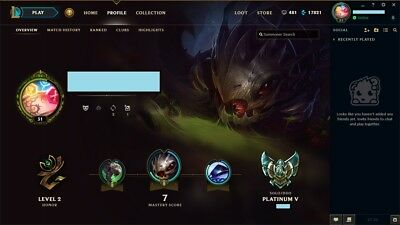 League of Legends Account LOL   EUW   Platin 5   90% Winrate   17500 IP   29 Cha