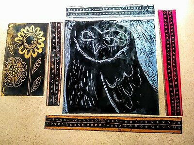 Stained Glass Fragments including an Owl - Traditional kiln fired.