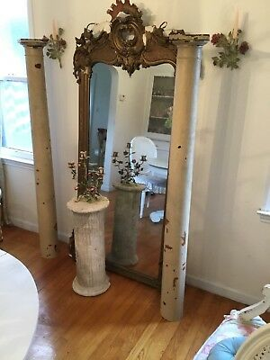 Pair Of Antique Architectural Salvage Pillars Posts columns ...Chippy Paint 64""