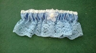wedding garter handmade in superior quality blue lace and ribbon